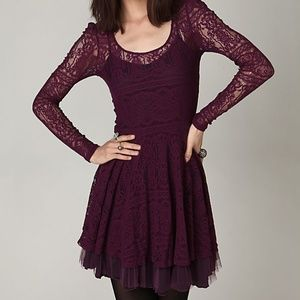 Free People Plum Long Sleeve Lace Dress 🍁